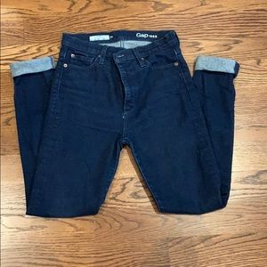 GAP dark high rise skinny jeans